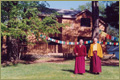 Rinpoche and Khenchen Rinpoche at the retreat center in the U.S.