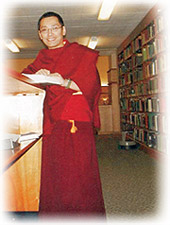 Rinpoche in a library