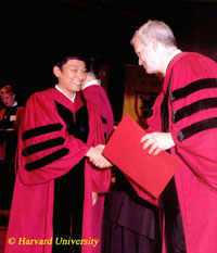 Rinpoche at Harvard commencement ceremony